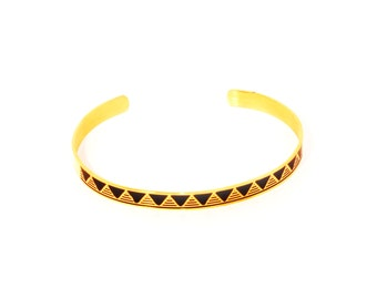 Bracelet/bangle gold ethnic black triangles and lines