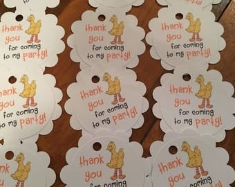 12 Sesame Street Big Bird Party Thank You Tags (can be personalized)