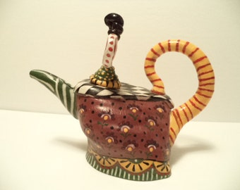 Whimsical Jane Pate Teapot 1992 Ceramic Art Pottery