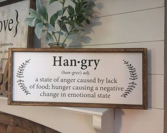 Hangry Wood Sign, Hangry, Farm Kitchen Sign, Farmhouse sign, Kitchen Decor, Wood Signs, Kitchen, Rustic Decor, Eat Sign