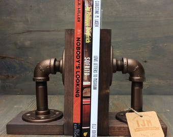 Industrial Rustic Urban Pipe Book Ends, Steampunk Bookends, Black Iron Pipe Book Accessories, Rustic Book Stops