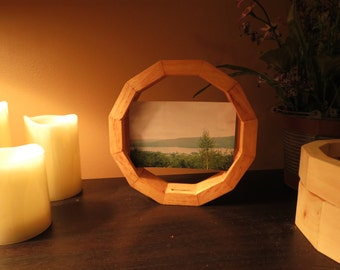 Handmade Wooden Picture Frame - Unique, Hand-Cut Dodecagon Frame