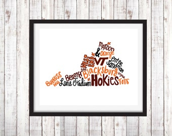 VT Virginia Tech Hokies Favorites Instant Print Digital Download Printable