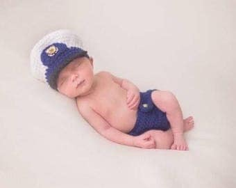 United States Coast Guard crochet Newborn hat and diaper cover