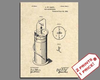 Fireman Home Decor - Fireman Wall Art - Fire Extinguisher Prints - Firefighter Patent Print - Vintage Fire Patent Poster Patent Art - 450