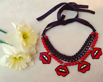 Lip necklace. red lips. stylish handmade necklace. Kiss Necklace, Valentine's Day Gift, Kiss Pendant, Girlfriend Gift