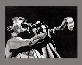 Freddie Mercury Ink Portrait Giclée Print