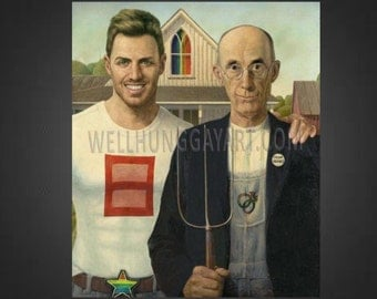 """LARGE 24x28"""" Gay Marriage Equality Art Canvas: Famous Funny Painting Reproduction"""