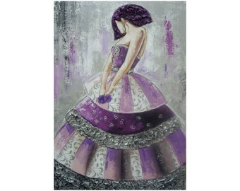 spanish young lady menina in mauve and silver