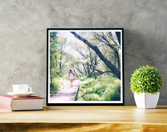 Woodland, forest, landscape of green summer tree, home décor photography color download, Woman with a white dress in the park wall decoration