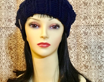 Crochet Cable Hat w/removeable Pom Pom