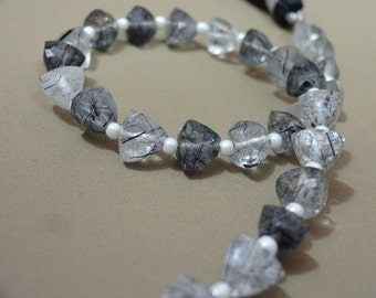 """AAA Grade BLACK RUTILATED Quartz Faceted Briolette Trillion beads,Straight Drilled, Size 6 mm, 6"""" Strand, Faceted Trillions"""