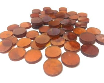 HESSONITE One Sided Polished Round Disks 12 mm diameter Round/ Flat Slices /Flat Disc/, Super Quality gems for Jewellery