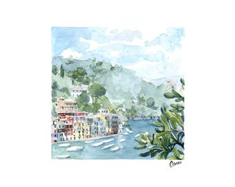 Seaside watercolor painting, painting of Portofino, italian seascape, watercolor colored landscape, squared picture, colored houses