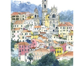 Watercolor of Cervo, painting of a 'little city of character', illustration italian village, colorful houses painting, colored architecture
