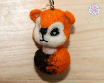 Sweet Little Orange Fox with Key Ring Needle Felting Pure Wool