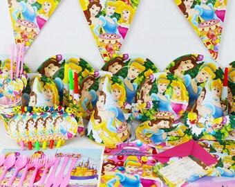 Disney princess belle sleeping beauty Cinderella Party Supplies tableware set