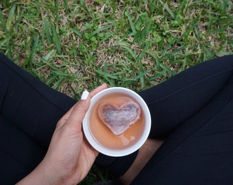 5 Heart Shaped Tea Bags/ Custom Tags/ Love is Brewing / Tea Gift Set