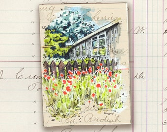 ACEO original art pen & wash watercolour red poppies garden SFA picket fence