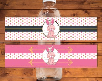 Bunny Water bottle labels, bunny baby shower water bottle labels, Printable labels, Instant download - PP023