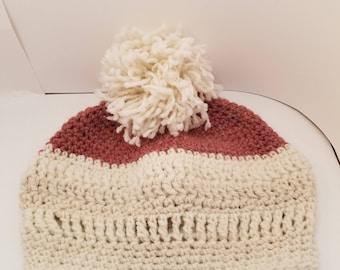 Crocheted hat with handspun yarn