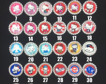 27mm Glass Dome Flatback Cabochon Rhinestone Embellishment Hello Kitty Cubs Micky Minnie Cowboys Patriots