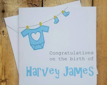 New baby boy card - congratulations on the birth of your baby boy card - personalised new baby card - it's a boy name card - Handmade baby