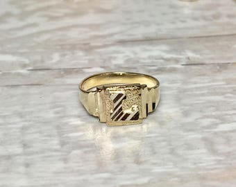 10k Real Gold Baby Initial Ring - Baby Kids Toddler Rings - Gold Initial Rings - Baby Jewelry - Signet Rings Gold