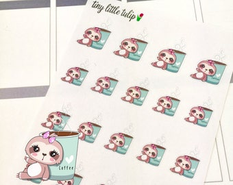 Planner Stickers Sloth Drinking Coffee