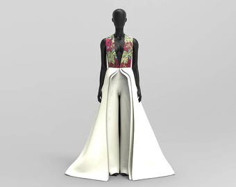 Custom Made Deep Plunge Heavy Bridal Satin Occasion Jumpsuit/Jumpdress Mixed with Ankara Print ( Prom/Wedding/Red Carpet )