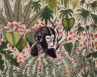 Kids Cheeky Monkey Print in Watercolour & Ink 8x8