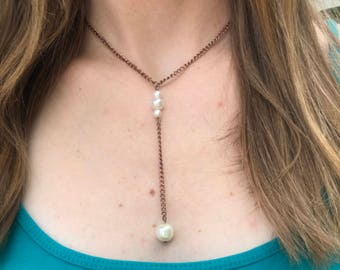Pearl lariat on a rose gold chain