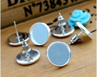 20 Pcs (12 mm) Silver Plated Cabochon Earring Studs