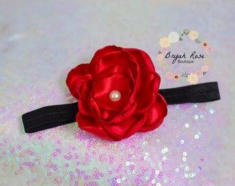 Red Flower Headband // Special Occasion // Birthday // Singed Satin Flower // Handmade