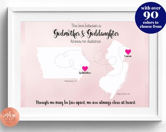 Godmother Gift from Goddaughter Map Art | Personalized Art | DIGITAL Print | Gifts for Mom | Going Away Gift | Godmom | Mother's Day Print