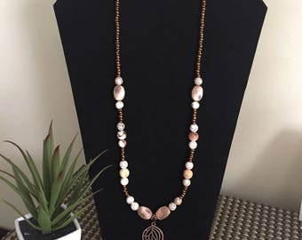 Natural Howlite & Bronze Accents Necklace.