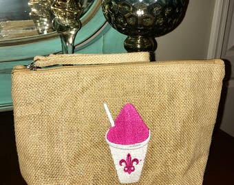 Burlap Snow Ball Cosmetic Pouch