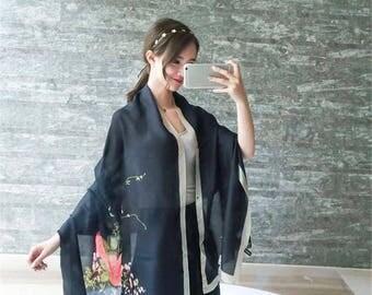 2017 Women Silk Scarf, New Fashion Flower Long Shawl, Summer Beach Wrap Oversize, Floral Scarf, Black Scarf