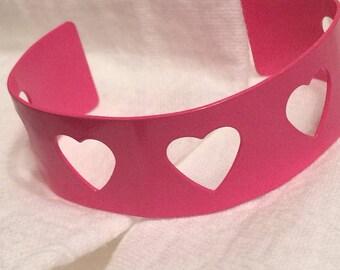 80s Bubblegum Pink Cutout Hearts Metal Enamaled Cuff Bracelet