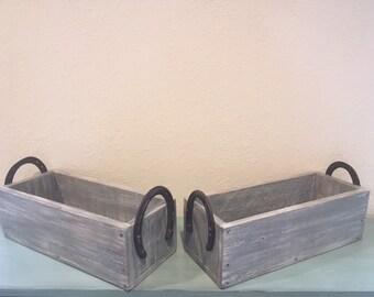 2 Rustic centerpiece arrangement boxes with horseshoe handles