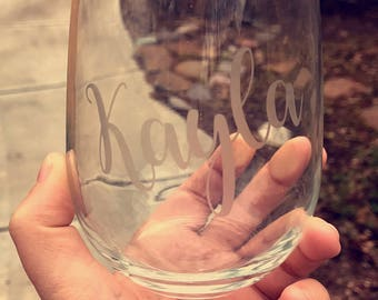 5 etched stemless wine glasses - bridal gift - bridesmaid gift