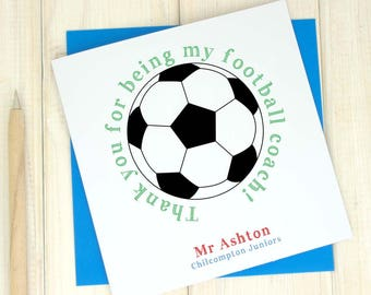 Thank you Football Coach Card - Personalised Card - Football Teacher Card - Thank you P.E Teacher card - End of Term card - End of School