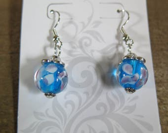 Blue and purple dangling earring