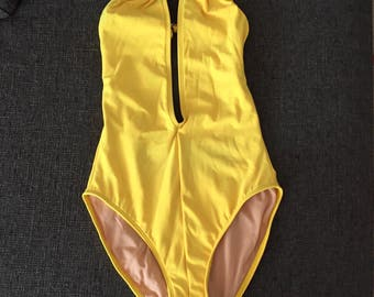 Women's Bright Lemon Yellow Iridescence One-Piece Swimsuit Bathing Suit Swimsuit * Size Medium *