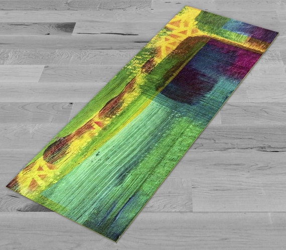 Greens & Yellows Abstract Yoga Mat by PimpMyYogaMat