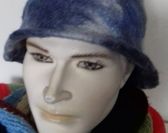 Blue cap   , hand made  felted wool  hat,