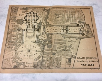Old Map of the Vatican - 1909 - Original