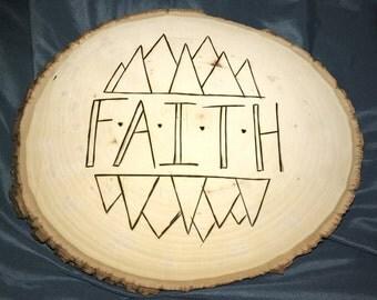 Faith woodburnt basswood