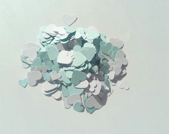 Handmade heart shaped table confetti in pastel blue and white