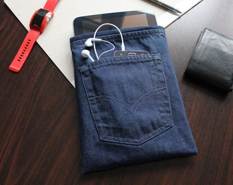 iPad 1 iPad 2 iPad 3 case clutch iPad 4 iPad Sleeve Tablet Case organize wires gift for men jeans cord wrapper card pocket iPad gadget gifts
